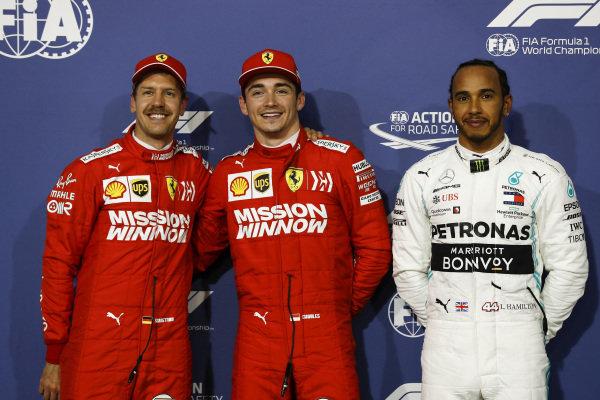 Sebastian Vettel, Ferrari, Charles Leclerc, Ferrari and Lewis Hamilton, Mercedes AMG F1 celebrate in parc erme