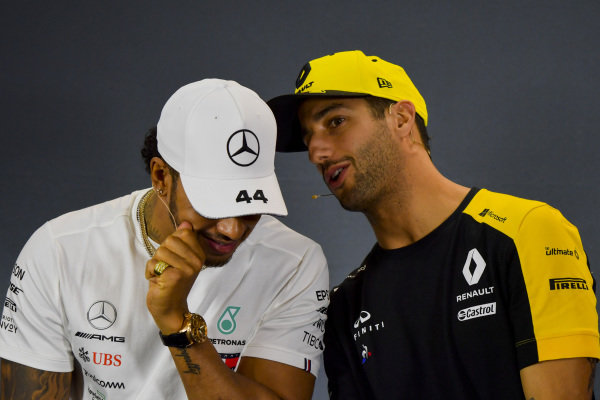 Lewis Hamilton, Mercedes AMG F1 and Daniel Ricciardo, Renault F1 Team in Press Conference