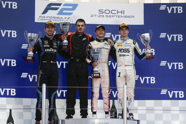 SOCHI AUTODROM, RUSSIAN FEDERATION - SEPTEMBER 28: Nyck De Vries (NLD, ART GRAND PRIX), celebrates winning the drivers' title with Nicholas Latifi (CAN, DAMS) and Louis Deletraz (CHE, CARLIN) during the Sochi at Sochi Autodrom on September 28, 2019 in Sochi Autodrom, Russian Federation. (Photo by Joe Portlock / LAT Images / FIA F2 Championship)