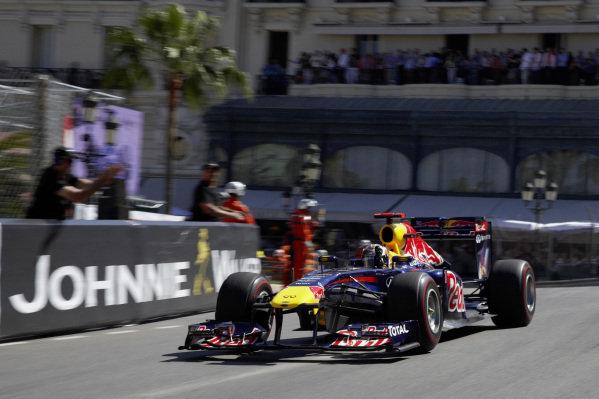 Sebastian Vettel, Red Bull RB7 Renault, celebrates after taking victory.