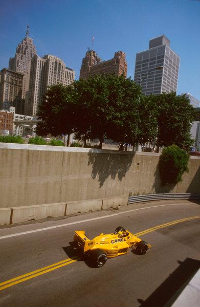 Detroit, Michigan, U.S A.19-21 June 1987.Ayrton Senna (Lotus 99T Honda) 1st position.Ref-87 USA 11.World Copyright - LAT Photographic