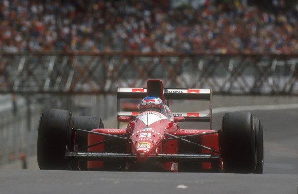 1990 Brazilian Grand Prix.Interlagos, Sao Paulo, Brazil.23-25 March 1990.Gianni Morbidelli (Dallara 190 Ford) 14th position on his Grand Prix debut.Ref-90 BRA 03.World Copyright - LAT Photographic
