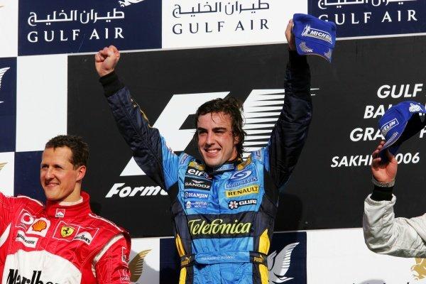 Podium (L to R): Second place Michael Schumacher (GER) Ferrari  and race winner Fernando Alonso (ESP) Renault  Formula One World Championship, Rd 1, Bahrain Grand Prix, Race, Bahrain International Circuit, Bahrain, 12 March 2006. DIGITAL IMAGE BEST IMAGE