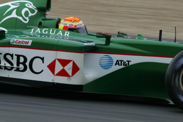 2003 European Grand Prix - Saturday Qualifying, Nurburgring, Germany.28th June 2003.Antonio Pizzonia, Jaguar R4, action.World Copyright LAT Photographic.Digital Image Only.