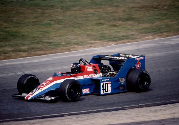 1983 European Grand Prix.Brands Hatch, England.23-25 September 1983.Stefan Johansson (Spirit 201 Honda) 14th position.  Ref: 83EUR27. World Copyright - LAT Photographic