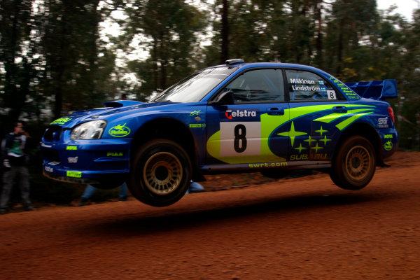 2003 FIA World Rally Champs. Round Ten Telstra Rally Australia 4th-7th September 2003.Tommi Makinen, Subaru, Action. World Copyright: McKlein/LAT