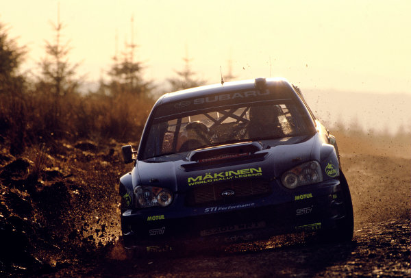 2003 World Rally ChampionshipRally of Great Britain, Wales. 6th - 9th November 2003.Tommi Makinen / Kaj Lindstrom, Subaru Impreza WRC 2003. Action at sunset.World Copyright: Spinney/LATref: 35mm Image WRC_GB_22 jpg