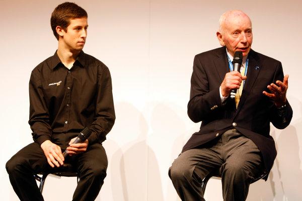 NEC, Birmingham. 13th January 2012.Alexander Sims and John Surtees speak on the Autosport stage.World Copyright:Alastair Staley/LAT Photographicref: Digital Image _O9T5698
