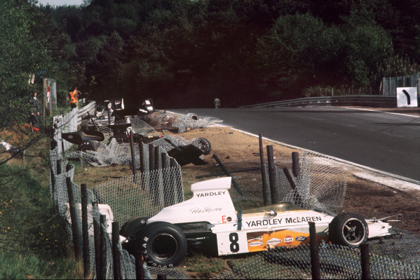 1973 Belgian Grand Prix.Zolder, Belgium.18-20 May 1973.Peter Revson's McLaren M23 Ford, Emerson Fittipaldi's Lotus 72E Ford, Jackie Oliver's Shadow DN1 Ford and Mike Hailwood's Surtees TS14A Ford all line up wrecked in the catch fencing.Ref-73 BEL 65.World Copyright - LAT Photographic