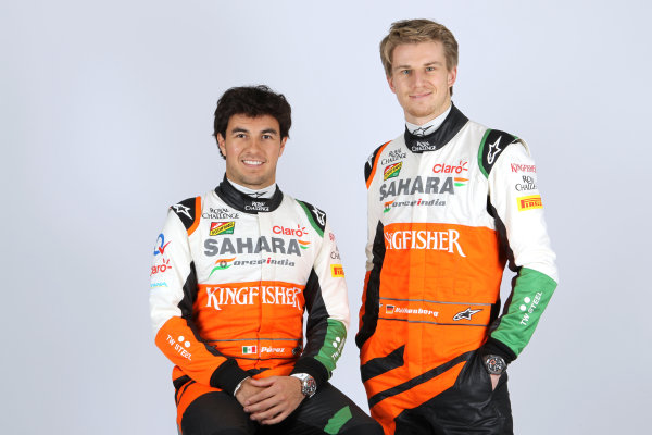 Force India VJM07 Online Launch Images 23 January 2014 Sergio Perez & Nico Hulkenberg, Force India Photo: Force India (Copyright Free FOR EDITORIAL USE ONLY) ref: Digital Image jm1423ja73