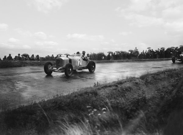 Nurburgring, Germany. 19th July 1931. Manfred von Brauchitsch (#2 Mercedes-Benz SSKL), retired leads Jean-Pierre Wimille (#48 Bugatti T51), 8th position, action.  World Copyright: LAT Photographic. Ref:  Autocar Glass Plate B6835