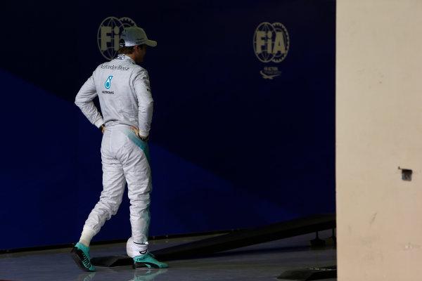 Yas Marina Circuit, Abu Dhabi, United Arab Emirates. Saturday 22 November 2014. Nico Rosberg, Mercedes AMG, in Parc Ferme, after qualifying. World Copyright: Andrew Ferraro/LAT Photographic. ref: Digital Image _FER0557
