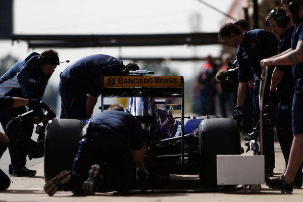 Circuit de Catalunya, Barcelona, Spain Monday 22 February 2016. Marcus Ericsson, Sauber C35 Ferrari, in the pit lane. World Copyright: Sam Bloxham/LAT Photographic ref: Digital Image _SBL4685
