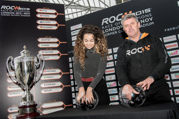 2015 Race Of Champions Olympic Stadium, London, UK MOBO award-winning singer-songwriter Ella Eyre draws the drivers names. Copyright Free FOR EDITORIAL USE ONLY. Mandatory Credit: 'IMP'