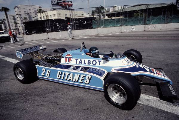 1982 United States Grand Prix West.Long Beach, California, USA.2-4 April 1982.Jacques Laffite (Ligier JS17B Matra).Ref-82 LB 44.World Copyright - LAT Photographic