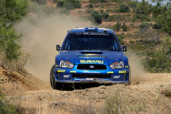 2004 FIA World Rally Champs. Round five, Cyprus Rally.14th- 16th May 2004.Petter Solberg, Subaru, action.World Copyright: McKlein/LAT