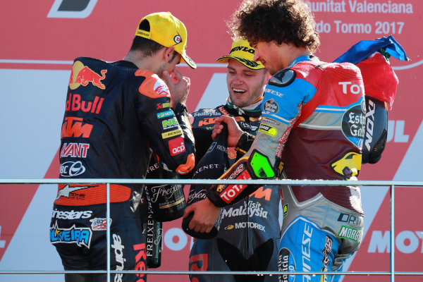 2017 Moto2 Championship - Round 18 Valencia, Spain  Sunday 12 November 2017 Podium: Brad Binder, Red Bull KTM Ajo  World Copyright: Gold and Goose Photography/LAT Images  ref: Digital Image 706501