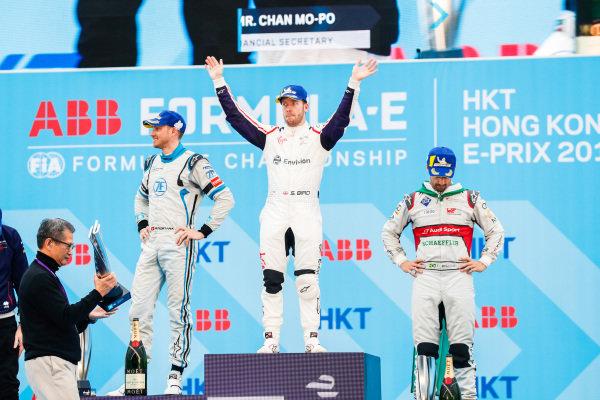 Race winner Sam Bird (GBR), Envision Virgin Racing with Edoardo Mortara (CHE) Venturi Formula E, 2nd position, and Lucas Di Grassi (BRA), Audi Sport ABT Schaeffler, 3rd position on the podium