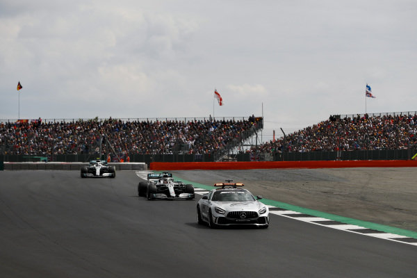 Lewis Hamilton, Mercedes AMG F1 W10 and Valtteri Bottas, Mercedes AMG W10 behind the Safety Car