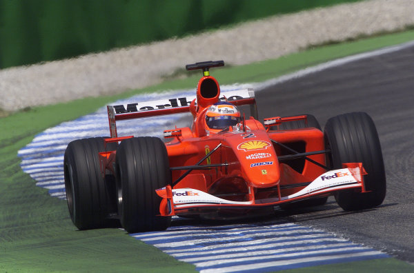 2001 German Grand Prix - PracticeHockenheim, Germany. 27th July 2001.Rubens Barrichello, Ferrari F2001, action.World Copyright: Steve Etherington/LAT Photographic.ref: 16mb Digital Image