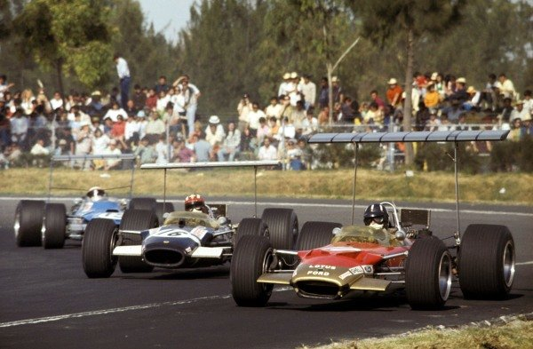 Graham Hill (GBR) Lotus Cosworth 49B, leads pole position man Jo Siffert (SUI) in a similar Rob Walker Racing entered car and Jackie Stewart (GBR) Matra Cosworth MS10. Hill took victory and with it clinched his second World Championship title. Mexican Grand Prix, Rd12, Mexico City, Mexico, 3 November 1968. BEST IMAGE