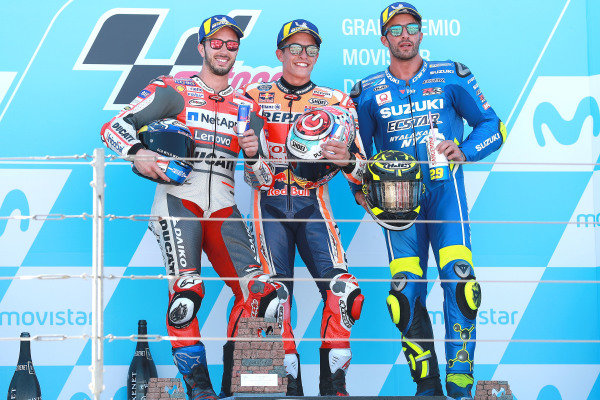 Podium: race winner Marc Marquez, Repsol Honda Team, second place Andrea Dovizioso, Ducati Team, third place Andrea Iannone, Team Suzuki MotoGP