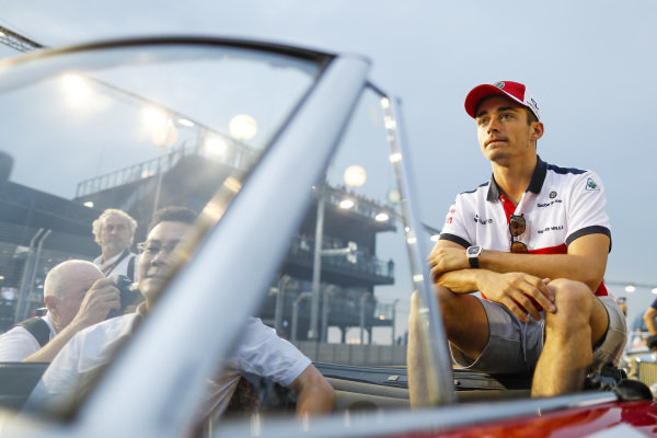 Charles Leclerc, Sauber, at the drivers parade