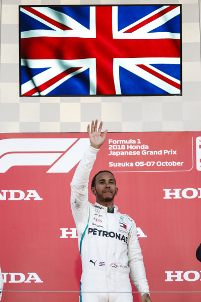 Lewis Hamilton, Mercedes AMG F1, 1st position, waves from the podium
