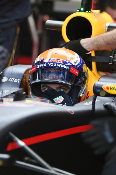 Max Verstappen (NED) Red Bull Racing at Formula One World Championship, Rd18, United States Grand Prix, Practice, Circuit of the Americas, Austin, Texas, USA, Friday 21 October 2016.