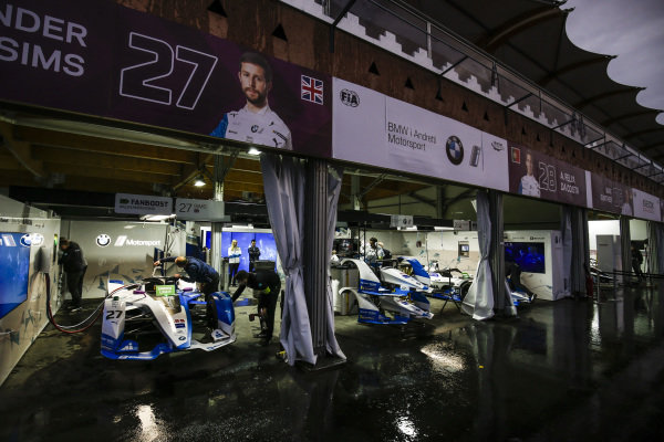 BMW Andretti Motorsports garage in the rain