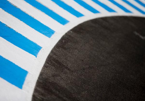 2017 FIA Formula 2 Round 10. Circuito de Jerez, Jerez, Spain. Thursday 5 October 2017. Kerb detail. Photo: Zak Mauger/FIA Formula 2. ref: Digital Image _X0W9411