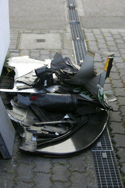 Debris recovered from a first lap accident involving Tom Kristensen (DEN) Audi Sport  DTM, Rd 1, Hockenheim, Germany, Sunday 22 April 2007. DIGITAL IMAGE