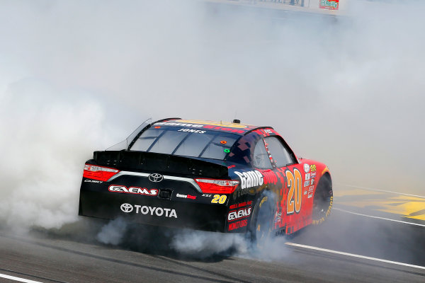 2017 NASCAR Xfinity Series My Bariatric Solutions 300 Texas Motor Speedway, Fort Worth, TX USA Saturday 8 April 2017 Erik Jones, Game Stop/ GAEMS Toyota Camry celebrates his win with a burnout  World Copyright: Russell LaBounty/LAT Images ref: Digital Image 17TEX1rl_2575
