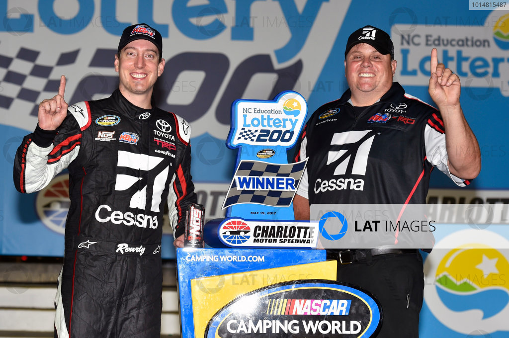 NASCAR Camping World Truck Series North Carolina Education Lottery 200 Charlotte Motor Speedway, Concord, NC USA Friday 19 May 2017 Kyle Busch, Cessna Toyota Tundra celebrates his win in Victory Lane World Copyright: Nigel Kinrade LAT Images ref: Digital Image 17CLT1nk04974