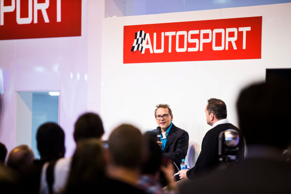 Autosport International Exhibition. National Exhibition Centre, Birmingham, UK. Sunday 15 January 2017. Jacques Villeneuve is interviewed on the Autosport stage Photo: Sam Bloxham/LAT Photographic ref: Digital Image _SLA6032