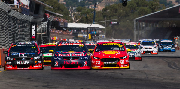 2017 Supercars Championship Round 1.  Clipsal 500, Adelaide, South Australia, Australia. Thursday March 2nd to Sunday March 5th 2017. Shane Van Gisbergen drives the #97 Red Bull Holden Racing Team Holden Commodore VF, Fabian Coulthard drives the #12 Shell V-Power Racing Team Ford Falcon FGX, James Courtney drives the #22 Mobil 1 HSV Racing Holden Commodore VF. World Copyright: Daniel Kalisz/LAT Images Ref: Digital Image 040317_VASCR1_DKIMG_5649.JPG