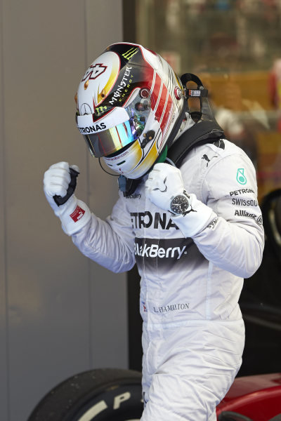 Circuit de Catalunya, Barcelona, Spain. Saturday 10 May 2014. Pole man Lewis Hamilton, Mercedes AMG, celebrates in Parc Ferme. World Copyright: Steve EtheringtonLAT Photographic. ref: Digital Image SNE14876 copy
