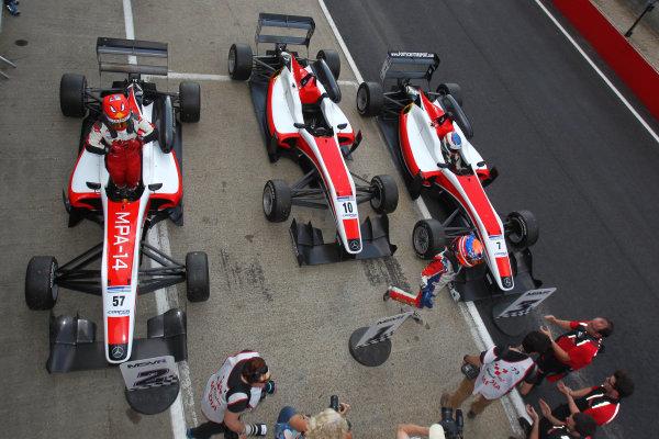 2014 British F3 International Series, Brands Hatch, Kent. 30th - 31st August 2014. British F3 Parc Ferme. World Copyright: Ebrey / LAT Photographic.