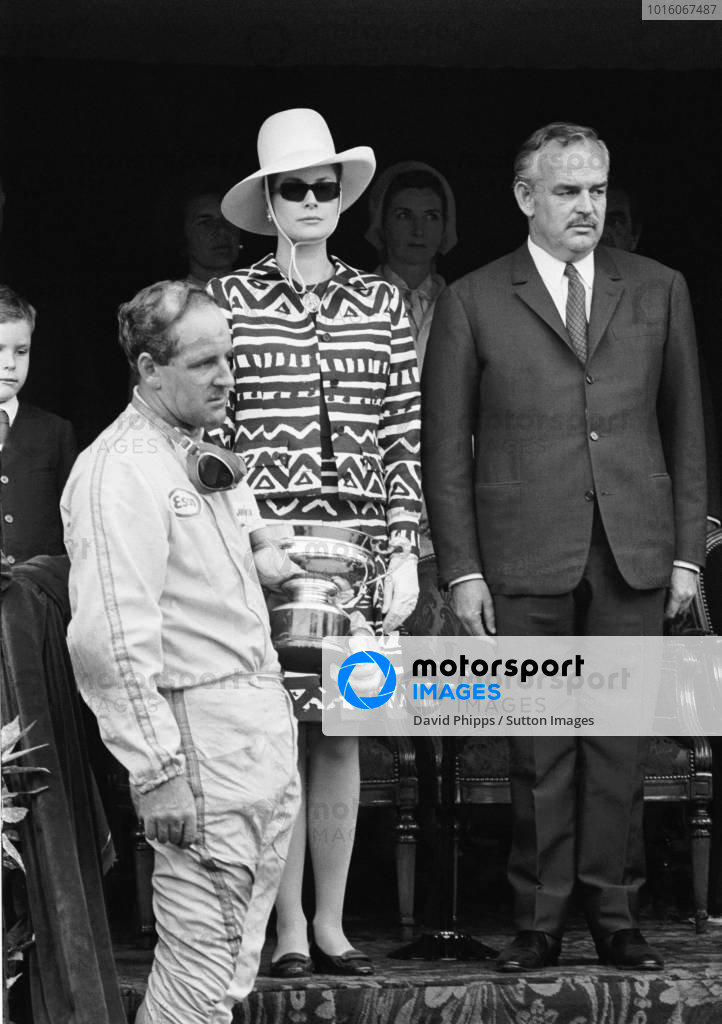 Winner Denny Hulme(NZ)Brabham BT20 on the podium with Princess Grace and Prince Rainier(right) Monaco GP, 7 May 1967