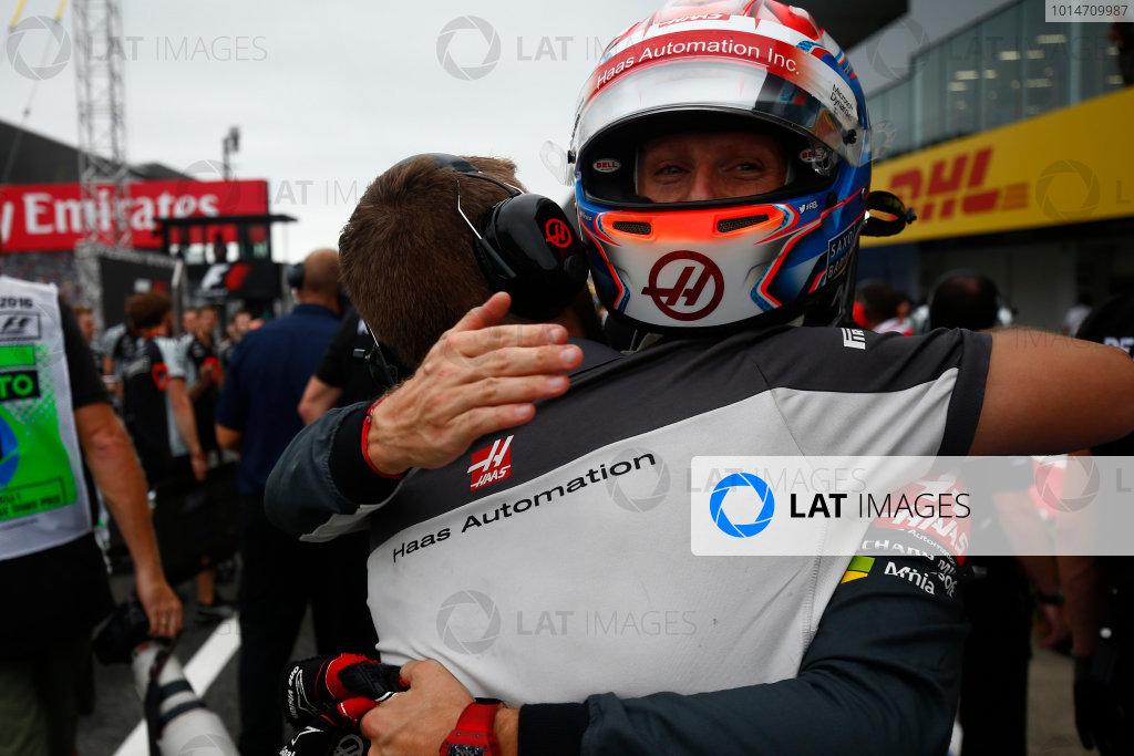 Suzuka Circuit, Japan. Saturday 8 October 2016. Romain Grosjean, Haas F1, celebrates a successful Qualifying session. World Copyright: Andrew Hone/LAT Photographic ref: Digital Image _ONZ4732