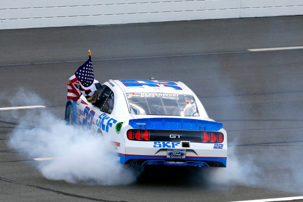 NASCAR XFINITY Series Pocono Green 250 Pocono Raceway, Long Pond, PA USA Saturday 10 June 2017 Brad Keselowski, SKF Ford Mustang celebrates his win with a burnout World Copyright: Russell LaBounty LAT Images ref: Digital Image 17POC1rl_03761