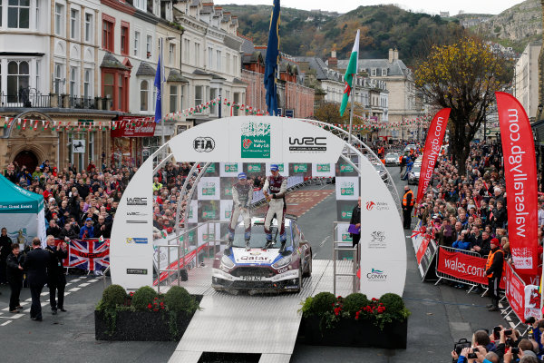 2013 FIA World Rally Championship Round 13-Wales Rally GB 14-17 November 2013 Elfyn Evans, Daniel Barritt,  Ford Fiesta R5, Podium.  Worldwide Copyright: McKlein/LAT