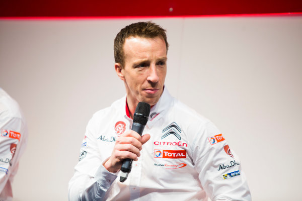 Autosport International Exhibition. National Exhibition Centre, Birmingham, UK. Friday 9 January 2015. Kris Meeke and Paul Nagle on the Autosport stage. World Copyright: Malcolm Griffiths/LAT Photographic. ref: Digital Image A50A0757