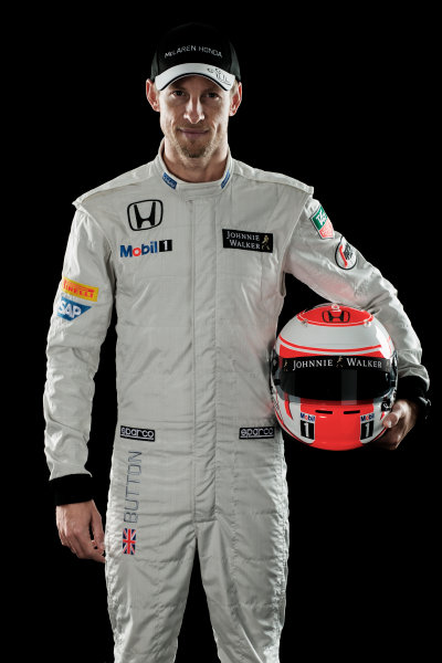 McLaren Honda MP4-30 Reveal Woking, UK. 29 January 2015 Jenson Button. Photo: McLaren (Copyright Free FOR EDITORIAL USE ONLY) ref: Digital Image MH-Drivers-20150127-0539