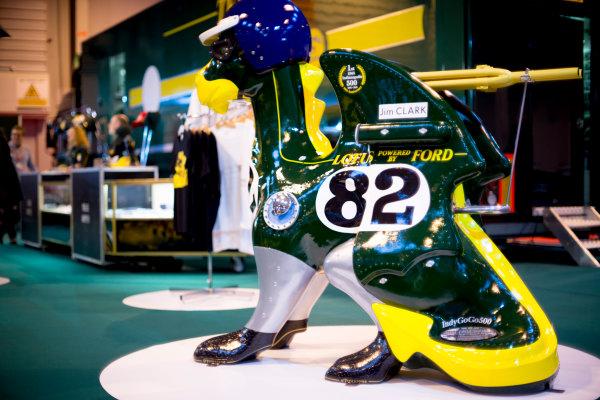 Autosport International Exhibition.  National Exhibition Centre, Birmingham, UK. Thursday 14 January 2016.  An ornament at the Classic Team Lotus stand. World Copyright: Sam Bloxham/LAT Photographic. ref: Digital Image _SBL6120