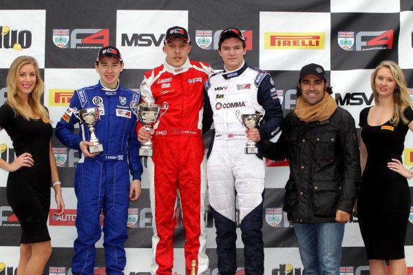 2015 BRDC Formula 4 Championship, Oulton Park, Cheshire. 4th - 6th April 2015. Race 2 Podium (l-r) Ciaran Haggerty (GBR) Ecurie Ecosse / GBR BRDC F4, Chris Mealin (GBR) Lanan Racing BRDC F4, Will Palmer (GBR) HHC Motorsport BRDC F4, Dario Franchitti (GBR). World Copyright: Ebrey / LAT Photographic.