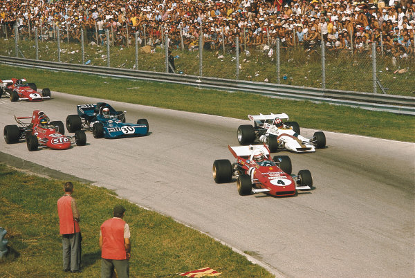 Monza, Italy. 3-5 September 1971. Clay Regazzoni (Ferrari 312B2) leads Jo Siffert (BRM P160), Ronnie Peterson (March 711 Ford), Jackie Stewart (Tyrrell 003 Ford) and Jacky Ickx (Ferrari 312B) into Parabolica. Ref-71 ITA 32. Please Note: This image is available as a 30mb+ CMYK Tiff scan upon request. World Copyright - LAT Photographic