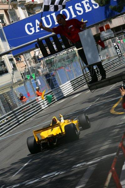 2006 Monaco Grand Prix - Renault World SeriesMonte Carlo, Monaco. 23rd - 28th May.Pastor Maldonado crosses the line to win the race, Action. World Copyright: Glenn Dunbar/LAT Photographicref: Digital Image YY8P5633