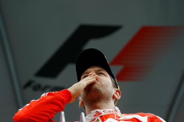 Circuit Gilles Villeneuve, Montreal, Canada. Sunday 12 June 2016. Sebastian Vettel, Ferrari, 2nd Position, on the podium. World Copyright: Steven Tee/LAT Photographic ref: Digital Image _H7I5905
