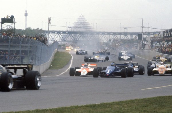 1982 Canadian Grand Prix.Montreal, Canada. 13 June 1982.The start line accident in which Riccardo Paletti, Osella FA1C-Ford, crashed into Didier Pironi, Ferrari 126C2, and lost his life.World Copyright: LAT PhotographicRef: 35mm transparency 82CAN38